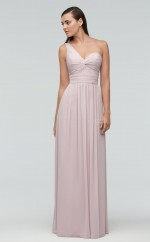 Glamorous Long Chiffon One Shoulder Ivory A Line Bridesmaid Dress BDNZ1657