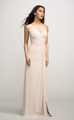Ivory Chiffon Sheath One Shoulder Long Bridesmaid Dresses (NZBD06166)