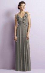 Modern Chiffon V-neck Long DarkGray A Line Bridesmaid Dress BDNZ1664