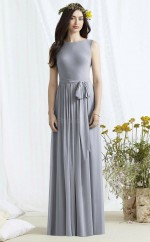 Chic Chiffon Bateau Long A Line Silver Bridesmaid Dress BDNZ1672