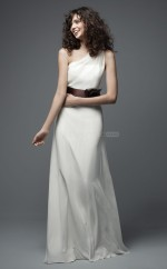 Chic Chiffon One Shoulder Long Ivory Sheath Bridesmaid Dress BDNZ1673