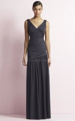 Chic Satin Chiffon V-neck Long A Line DarkGray Bridesmaid Dress BDNZ1681
