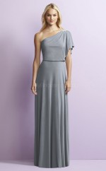 Chic Silver A Line One Shoulder Long Satin Chiffon Bridesmaid Dress BDNZ1683
