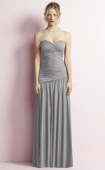 Chic Long Charmeuse Sweetheart Silver A Line Bridesmaid Dress BDNZ1684