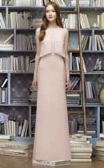 Chic Long Pink Jewel Satin Chiffon Bridesmaid Dress BDNZ1687