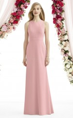 Chic Charmeuse Jewel Long Pink Mermaid Bridesmaid Dress BDNZ1691