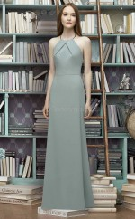 Chic Long Charmeuse Halter LightGreen Mermaid Bridesmaid Dress BDNZ1693