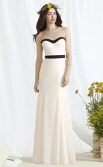 Chic Long Ivory Sweetheart Satin Chiffon Bridesmaid Dress BDNZ1696