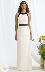 Chic Ivory Jewel Long Sheath Satin Chiffon Bridesmaid Dress BDNZ1697