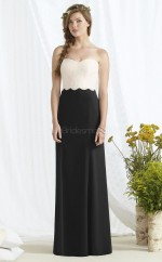 Chic Satin Black Sheath Long Bridesmaid Dress BDNZ1698