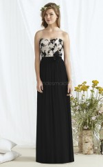 Chic Tulle Sweetheart Long Black A Line Bridesmaid Dress BDNZ1700