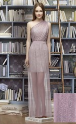 Chic Gray Sheath One Shoulder Long Lace Bridesmaid Dress BDNZ1701