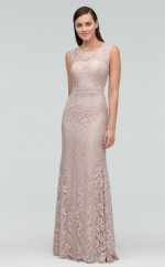 Chic Scoop Mermaid Long Gray Lace Bridesmaid Dress BDNZ1704