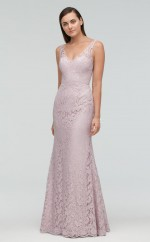 Chic Long Gray V-neck Lace Bridesmaid Dress BDNZ1705