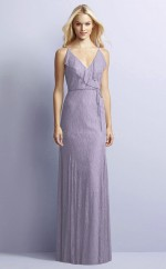 Chic Lavender V-neck Long Mermaid Lace Bridesmaid Dress BDNZ1706