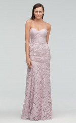 Chic Lace Gray Mermaid Long Bridesmaid Dress BDNZ1707