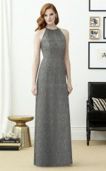 Chic Lace Halter Long DarkGray A Line Bridesmaid Dress BDNZ1709