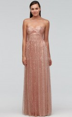 Chic Pink A Line Sweetheart Long Lace Bridesmaid Dress BDNZ1710