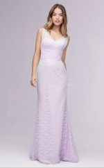 Chic Long Lace V-neck White Mermaid Bridesmaid Dress BDNZ1711
