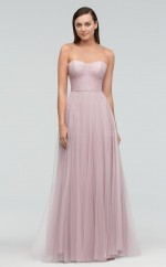 Chic Tulle Sweetheart Long A Line Lilac Bridesmaid Dress BDNZ1717