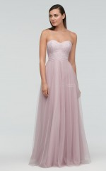 Chic Pink A Line Sweetheart Long Tulle Bridesmaid Dress BDNZ1719