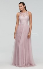 Chic Long Tulle Scoop Pink A Line Bridesmaid Dress BDNZ1720