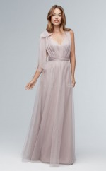 Chic Gray Long V-neck Tulle A Line Bridesmaid Dress BDNZ1721