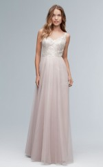 Chic V-neck A Line Long Gray Tulle Bridesmaid Dress BDNZ1722