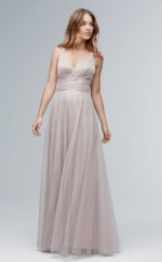 Chic Gray Halter Long A Line Tulle Bridesmaid Dress BDNZ1724