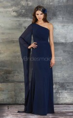 Ink Blue Chiffon Sheath One Shoulder Long Bridesmaid Dresses (NZBD06175)