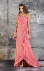 Candy Pink Chiffon A-line V-neck Long Bridesmaid Dresses (NZBD06179)