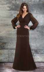 Chocolate Chiffon Mermaid V-neck Long Bridesmaid Dresses (NZBD06181)