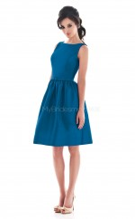 Royal Blue Satin A-line Jewel Neckline Knee length Bridesmaid Dresses (NZBD06185)