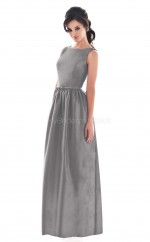 Silver Satin A-line Jewel Long Bridesmaid Dresses (NZBD06186)