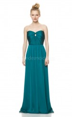 Satin Chiffon Sweetheart Neckline Long Ink Blue Bridesmaid Dress NZBD1862