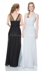 Long V Neck Sheath Tulle Black Bridesmaid Dress NZBD1863