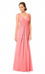 Long Watermelon V Neck Sheath Chiffon Bridesmaid Dress NZBD1869