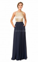 Long Jewel Neck Stretch Satin and Chiffon Drak Navy Bridesmaid Dress NZBD1873