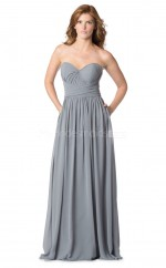 Sliver Chiffon Sweetheart Neckline Long Bridesmaid Dress NZBD1877