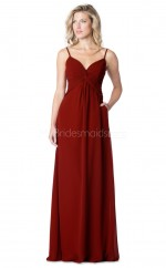 Straps Long Burgundy Bridesmaid Dress NZBD1881