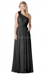Black Satin Chiffon Long One Shoulder Bridesmaid Dress NZBD1885