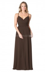 Straps Chiffon Chocolate Long Bridesmaid Dress NZBD1886