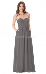 Chiffon Sweetheart Neckline Long Silver Bridesmaid Dress NZBD1892