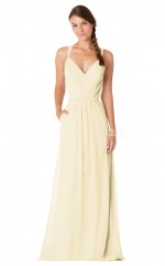 Beige Chiffon Long V Neck Bridesmaid Dress NZBD1895