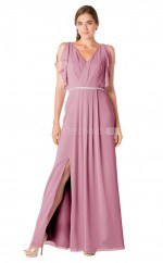 Chiffon V Neck Long Dark Pink Bridesmaid Dress with Short Sleeves NZBD1902