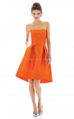 Orange Satin A-line Strapless Short Vintage Bridesmaid Dresses (NZBD06193)