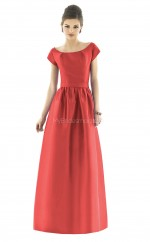 Red Satin Princess Scoop Long Bridesmaid Dresses (NZBD06194)