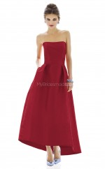 Burgundy Satin A-line Strapless Long Bridesmaid Dresses (NZBD06198)