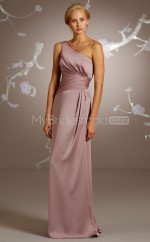 Nude Pink Satin Chiffon Sheath One Shoulder Long Bridesmaid Dresses (NZBD06209)