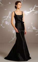 Black Satin Mermaid Straps Long Bridesmaid Dresses (NZBD06210)